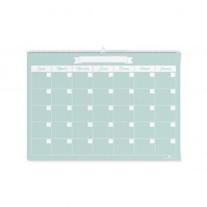 Calendario verde agua mediano